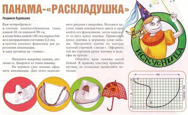 Выкройки детские летние головные уборы.
