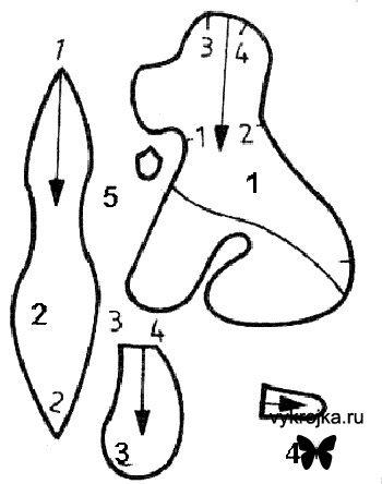 Важно.  Детали выкройки разложить на изнаночной стороне плюша с учетом направления ворса и выкроить с...