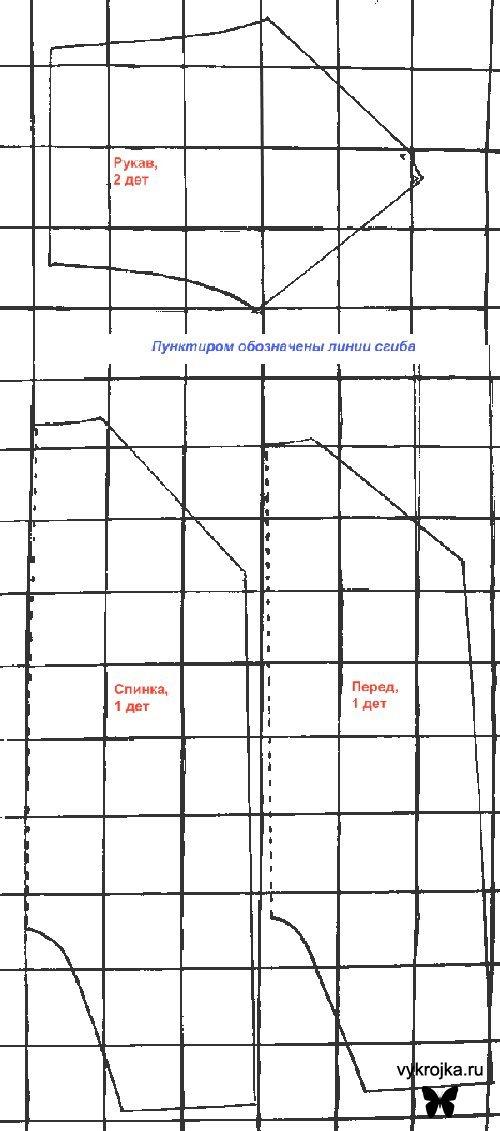 Для построения выкройки комбинезона для новорожденного достаточно перерисовать представленные на схеме линии с.