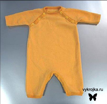 Выкройка комбинезона для новорожденного с рукавом реглан проста в исполении и построении.
