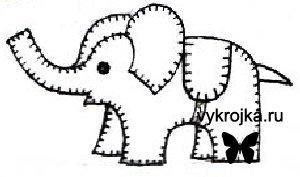 Выкройка игрушки цирковой слоник
