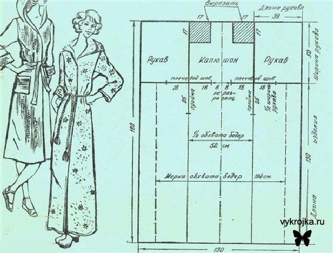 махрового женского халата