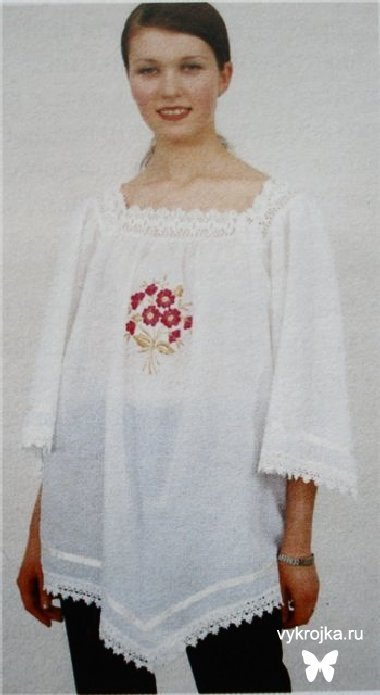 Выкройка белой батистовой блузки