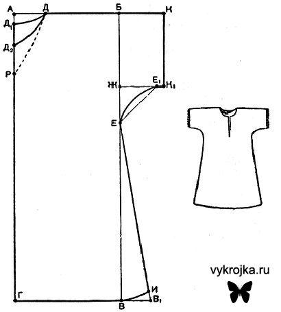 Выкройка ночной рубашки