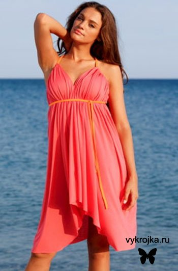 Выкройка пляжного драпированного платья