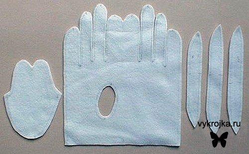 Выкройка перчаток.
