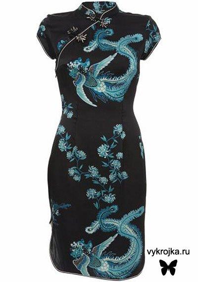Выкройка платья в китайском стиле(кимоно)