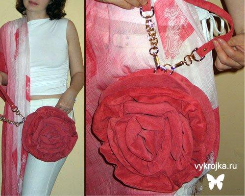 Выкройка сумки-розы