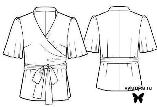 Выкройка блузки с запахом