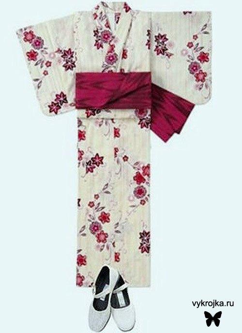 Выкройка национального японского кимоно Юката.