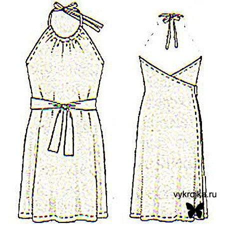 """""""Трикотажное пляжное платье с запахом """", размер 42-44."""