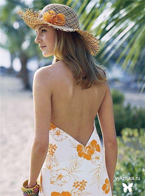 Выкройка Трикотажного пляжного платья с запахом