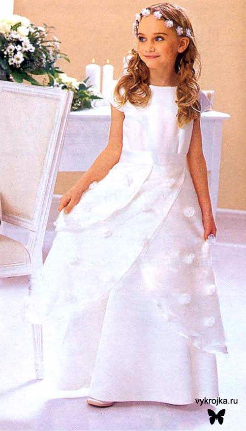 Белое платье с цветами для девочки