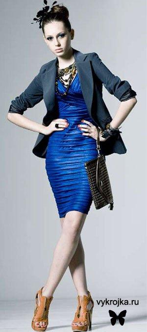 Выкройка «Коктейльное синее платье»