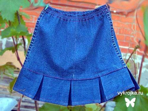 Выкройка детской джинсовой юбки