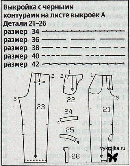 Выкройка вельветовых брюк