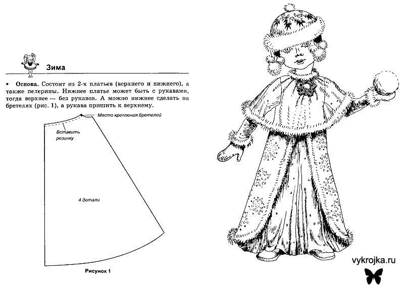 Выкройка костюм снегурочки детский своими руками 12