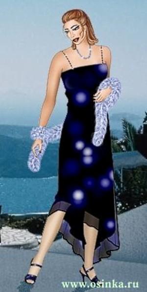Вечернее платье со стразами и боа